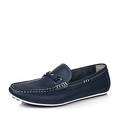 BASTO/百思图春季专柜同款深蓝色牛皮休闲套脚男单鞋ABV22AM6