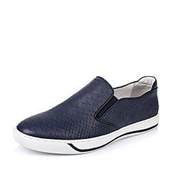BASTO/百思图春季专柜同款深蓝色牛皮套脚平跟男休闲鞋AUR45AM6
