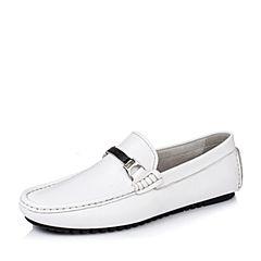 BASTO/百思图2016夏季专柜同款白色牛皮舒适豆豆鞋男休闲鞋AXZ01BM6