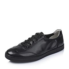 BASTO/百思图2016夏季专柜同款黑色牛皮舒适镂空男休闲鞋AYB12BM6