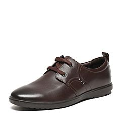 BASTO/百思图春季专柜同款棕色牛皮休闲简约系带圆头男皮鞋AVY02AM6