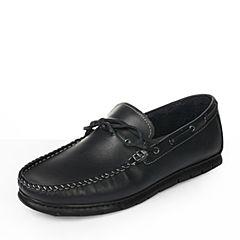 BASTO/百思图春季专柜同款蓝色软面牛皮时尚舒适平跟车缝线男休闲鞋AYS01AM6