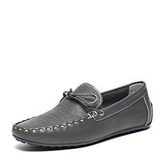 BASTO/百思图夏季专柜同款灰色软面牛皮精致压花舒适套脚方头男休闲鞋ABV33BM6