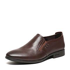 BASTO/百思图夏季专柜同款浅棕色软面牛皮简约舒适透气套脚男皮鞋AKJ12BM6