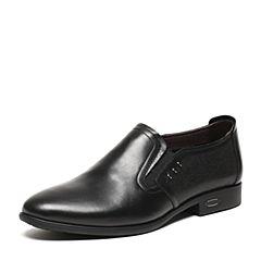 BASTO/百思图夏季专柜同款黑色软面牛皮简约舒适透气套脚男皮鞋AKJ12BM6