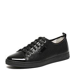 BASTO/百思图夏季专柜同款黑色软面牛皮系带舒适镂空圆头男休闲鞋AYB08BM6