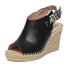 BASTO/百思图夏季黑色牛皮时尚坡跟女凉鞋16B09BL6