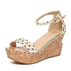 BASTO/百思图夏季专柜同款桔杏色印花布甜美舒适坡跟女凉鞋TBZ09BL6