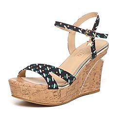 BASTO/百思图夏季兰绿色印花布时尚坡跟女凉鞋TG509BL6