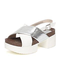 BASTO/百思图夏季专柜同款白/银色牛皮时尚休闲女凉鞋TY401BL6