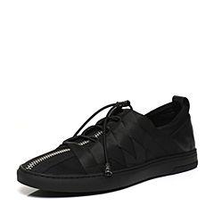 BASTO/百思图2017春季专柜同款黑色弹力布牛皮男休闲鞋17N01AM7