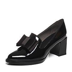 BASTO/百思图春季专柜同款黑色牛皮蝴蝶结舒适粗高跟尖头女单鞋TXD25AQ7