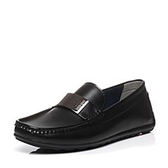BASTO/百思图2017春季专柜同款深黑色PU套脚时尚男休闲鞋86395AQ7