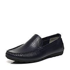 BASTO/百思图2017春季专柜同款蓝色牛皮套脚平跟舒适男休闲鞋BGF02AQ7