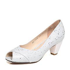 BASTO/百思图春季专柜同款白色牛皮露趾通勤浅口女皮凉鞋17A10AU7