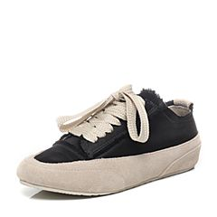 BASTO/百思图2017春季黑色布时尚舒适平跟系带女休闲鞋DMS17AM7