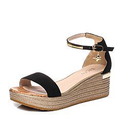 BASTO/百思图夏季专柜同款黑色羊皮简约一字坡跟女凉鞋TG217BL7