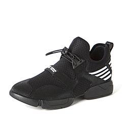 BASTO/百思图2017春季黑色TPU/弹力布时尚舒适女休闲鞋07912AM7