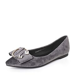 BASTO/百思图2017春季灰色绒布优雅气质女单鞋6651DAQ7
