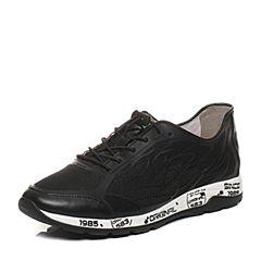 BASTO/百思图2017夏季黑色滴胶网布/牛皮舒适平跟男休闲鞋BIE15BM7