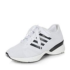 BASTO/百思图2017春季白色人造革运动风系带内增高女休闲鞋9021DAM7