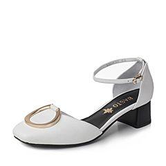 BASTO/百思图新款夏季白色荔纹牛皮方头玛丽珍女凉鞋RBH04BK7