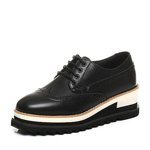 BASTO/百思图秋季专柜同款黑色软面牛皮复古镂花系带坡跟女休闲鞋YES02CM7