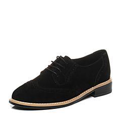 BASTO/百思图秋季专柜同款黑色羊绒皮镂花系带方跟女单鞋TM230CM7