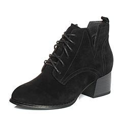 BASTO/百思图秋季专柜同款黑色羊绒皮简约休闲系带粗跟女皮靴TYO40CD7
