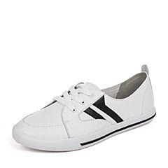 BASTO/百思图秋季新品白/黑牛皮简约条纹女休闲鞋小白鞋YIP04CM7