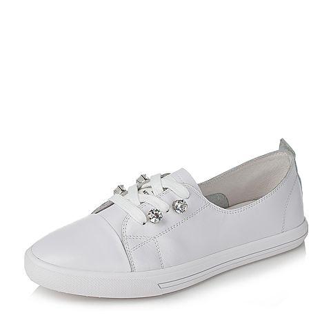 BASTO/百思图夏季白色软面牛皮简约活力水钻系带女休闲鞋YIP03BM7