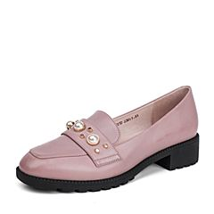BASTO/百思图秋季新品粉色牛皮珍珠浅口粗中跟女单鞋73221CQ7