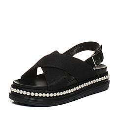 BASTO/百思图夏季专柜同款纺织物/牛皮休闲坡跟女皮凉鞋17B69BL7