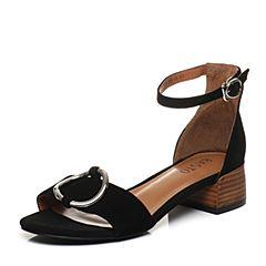 BASTO/百思图夏季专柜同款黑色羊皮一字带简约方跟女凉鞋17B71BL7