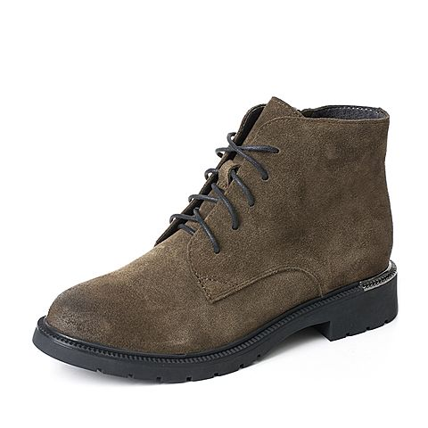 BASTO/百思图冬季专柜同款绿色牛剖层皮革系带方跟女皮靴马丁靴17D11DD7