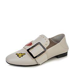 BASTO/百思图秋季白色牛皮时尚休闲趣味图案方跟女单鞋7C114CM7