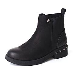 BASTO/百思图2017冬季黑色牛皮/布面时尚拼接休闲方跟女短靴6515ADD7