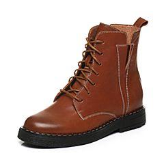 BASTO/百思图2017冬季棕色羊皮交叉系带帅气女中靴马丁靴6391DDZ7