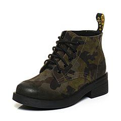 BASTO/百思图2017冬季绿色二层牛皮时尚帅气马丁靴女皮靴短靴RBE40DD7