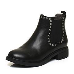 BASTO/百思图2017冬季黑色牛皮时尚简约休闲圆头方跟女皮靴短靴RAI45DD7