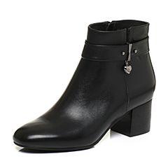 BASTO/百思图2017冬季黑色牛皮时尚休闲优雅方头粗跟女皮靴短靴TRO49DD7