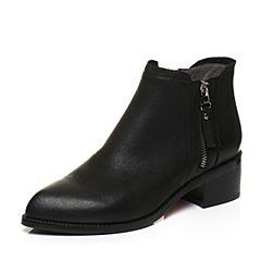 BASTO/百思图2017冬季黑色牛皮时尚尖头简约休闲粗跟女皮靴短靴TYU61DD7
