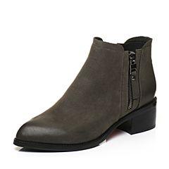 BASTO/百思图2017冬季青灰色牛皮时尚尖头简约休闲粗跟女皮靴短靴TYU61DD7