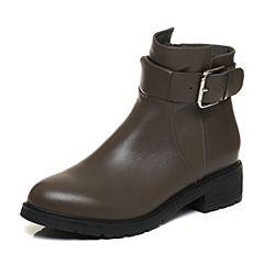 BASTO/百思图2017冬季灰色牛皮时尚简约纯色方跟女皮靴短靴RAN40DD7