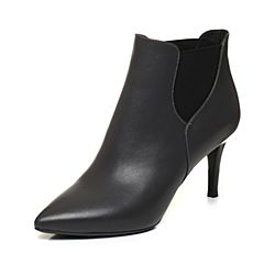 BASTO/百思图2017冬季深灰色牛皮通勤优雅细高跟尖头女皮靴短靴TOY42DD7