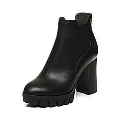 BASTO/百思图2017冬季黑色牛皮简约纯色粗高跟女皮靴TXK43DD7