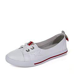 BASTO/百思图2017秋季专柜同款白色软面牛皮蝴蝶结简约小白鞋女休闲鞋YIP12CM7