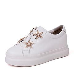 BASTO/百思图秋季白色软面牛皮珍珠星星系带松糕女休闲鞋YJI04CM7