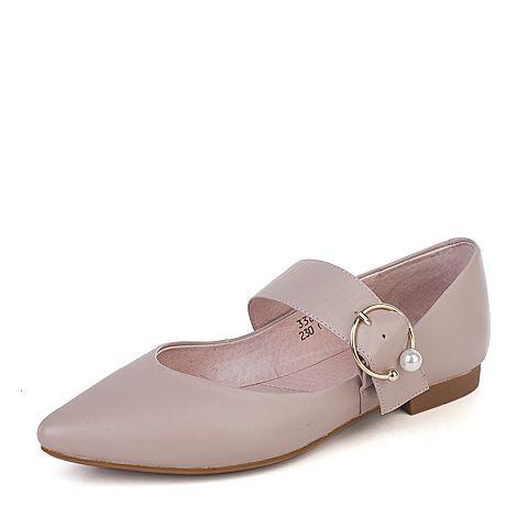 BASTO/百思图秋季浅粉色羊皮珍珠浅口尖头方跟女单鞋33866CQ7