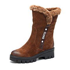 BASTO/百思图2017冬季棕色牛二层皮/羊毛皮休闲保暖圆头粗跟女皮靴中筒靴REY60DZ7